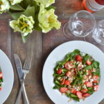 Strawberry, Asparagus & Pancetta Salad with Pomegranate Orange Vinaigrette