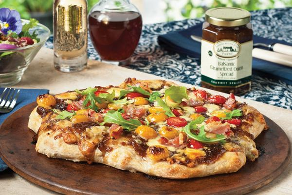 Balsamic Vinegar Caramelized Onion Flatbread Pizazz